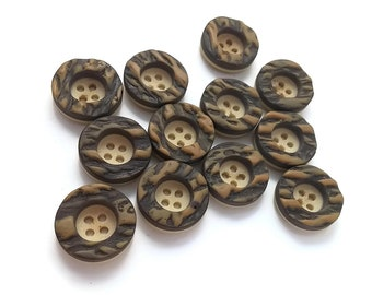 Brown and Beige Vintage Sewing Buttons - 12 vintage 4 holes plastic buttons 18mm