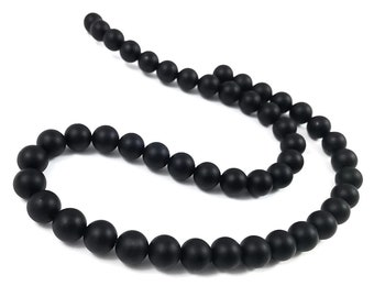 Natural Agate Black Frosted Stone Beads Round 6 or 8mm
