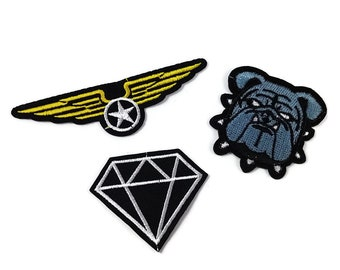 Sewing-on Patch Cloth Embroidery different styles for choice: Diamond, Bulldog, Aviator Wings