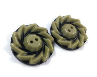 Olive and Black Plastic Sewing Button - set of 2 Vintage sewing buttons 28mm