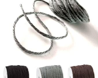 Colored jute twine - Grey, Black or Brown 5m / 16.4 ft