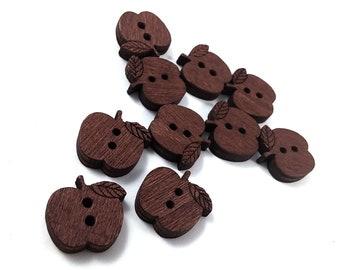 10 Apple Wooden Buttons - craft buttons 16mm