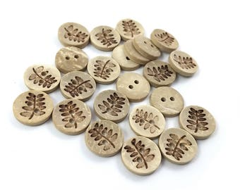10 Coconut Shell Buttons 12mm - Rustic Fern (BC623)