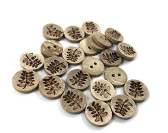 10 Coconut Shell Buttons 12mm - Rustic Fern