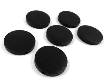 Black Wood Beads Flat Round 30mm - 6 pces