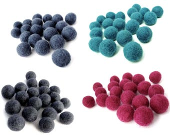 15mm Wool Felt Balls 20pcs - Choose your color - Blue, Aqua, Gray or Pink