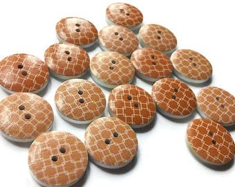 17 Peach wood sewing buttons 20mm (BB107B)