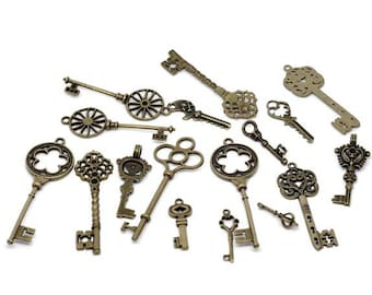 24pcs Mixed Antique Bronze Key Charms Pendants 30 to 70mm