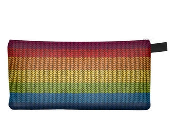 Knitting Rainbow Pencil Case - Free shipping USA and Canada