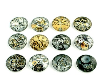 14mm mixed steampunk glass cabochons - set of 20 round dome cabochons