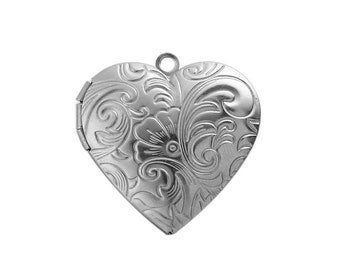 Stainless Steel Picture Photo Locket Frame Pendants - Heart