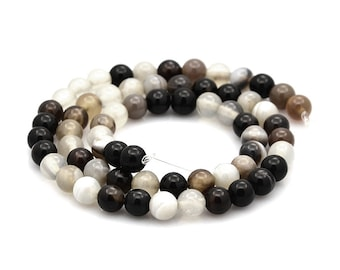 Natural Black Striped Agate Stone Beads Strands 6mm Round