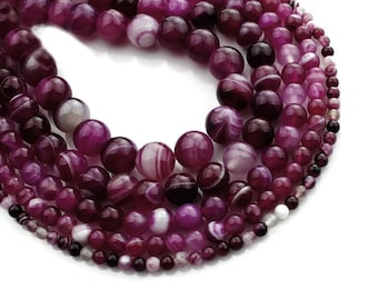 Deep Pink Natural Agate Round Beads Strands 4, 6 or 8mm