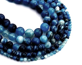 Deep Blue Natural Agate Round Beads Strands 4, 6 or 8mm