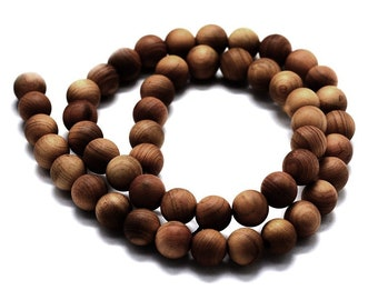 Golden wood beads 6 or 8mm - Natural Mala Wooden Beads