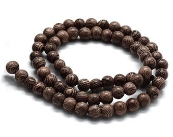 Brown zebra wood beads 6 or 8mm - Natural Mala Wooden Beads