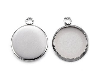 304 Stainless steel pendant cabochon settings, flat round, 8, 10, 12 or 14mm tray
