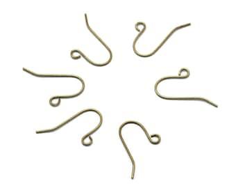 50 Brass earring hooks - Golden - Nickel free, lead free and cadmium free earwire