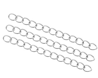 10 Stainless steel extension jewelry chains - Tail extender 50mm - Two sizes available