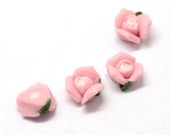 10mm porcelain cabochons - set of 20 pink flower cabochons