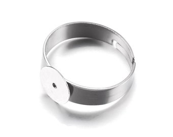 Stainless steel adjustable open glue-on rings round 8mm settings - Hypoallergenic
