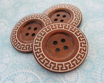 "Extra large button - 3 wooden button 60mm (2 3/8"") - aztec pattern"