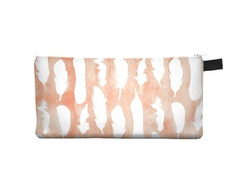 Apricot Feather Pencil Case - Free shipping USA and Canada