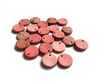 ON SALE! 20 Rustic Coconut Beads Shell, flat round charms or pendants 14mm - Pink