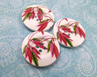 1.5 inch buttons - Red, pink and green leaf wooden sewing buttons - set of 3