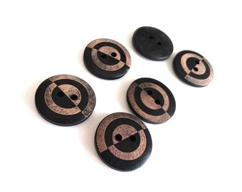6 geometric black and brown wooden buttons 23mm