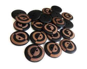 6 geometric black wooden buttons 23mm