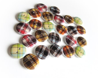 Plaid buttons - 25 Fall plaid mixed wood sewing buttons 18mm