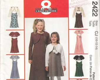 McCalls Sewing Pattern 2422 Dress and bolero jacket for girls size 10-12-14