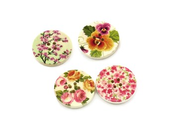 Spring Flowers wood sewing buttons - 4 Mixed Patterns craft buttons
