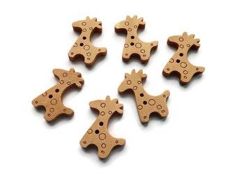 Giraffe Wooden Buttons Set of 6