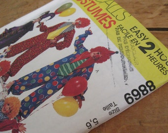 Halloween diy McCall's 8869 Pattern for children's clown costumes, uncut