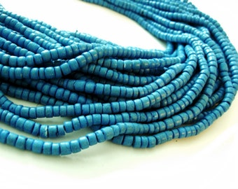 120 Blue wood Beads - Coconut Rondelle Disk Beads 4-5mm