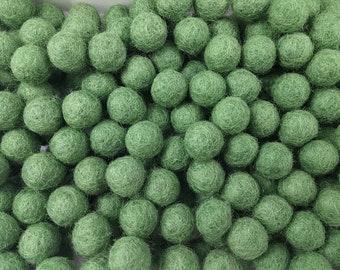 1cm felt balls - 25 green pure wool beads