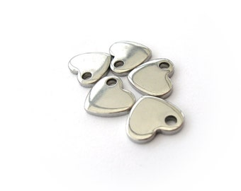 Heart pendant stainless steel hypoallergenic DIY 5 charms
