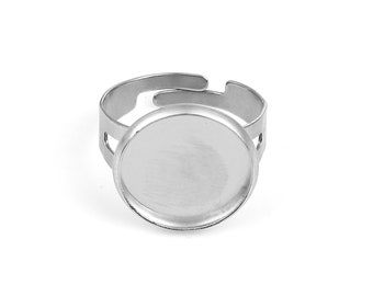 Stainless steel adjustable rings round cabochon settings (fits 14mm dia.) Hypoallergenic