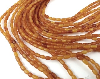 60 Natural amber horn rice beads 7x4mm - eco friendly and natural horn beads