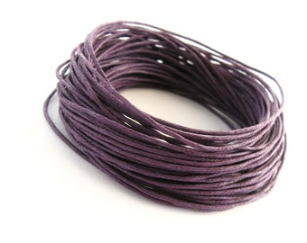 1mm waxed cotton cord  - Dark Purple 10 meters / 32.8 ft