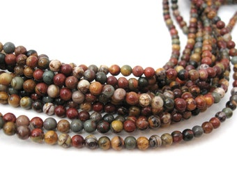 Natural Picasso Stone Beads Strands Colorful Round 4mm