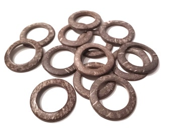 Coconut Brown Ring Link Disks Set of 6 - 38mm - Natural Nut Discs Beads