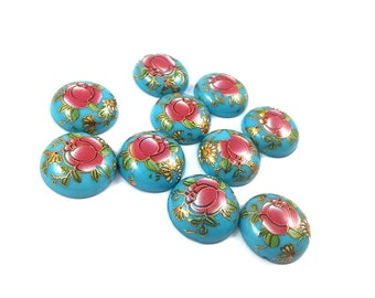 18mm aqua resin cabochons with red flower - set of 10 round dome cabochons