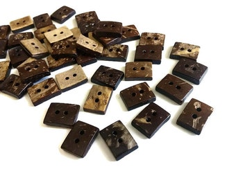 10 Tiny Rectangle Coconut Buttons 1/2 inch