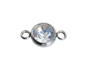 "Faceted AB Color Rhinestone 18mm (3/4"") 304 Stainless Steel Connector Round Silver Tone  1pcs"