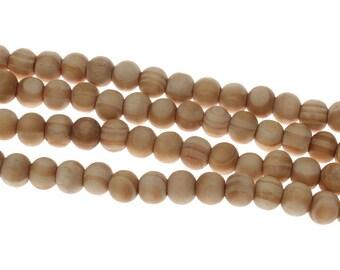 50 round wooden beads 8mm