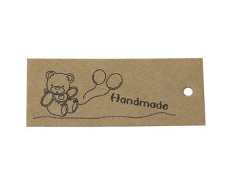 Product tags - Handmade & teddy bear printed kraft gift tag - Set of 10 or 50