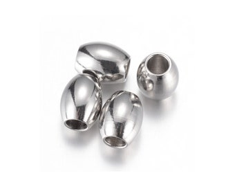 10 Stainless Steel Oval Beads 5 or 8mm
